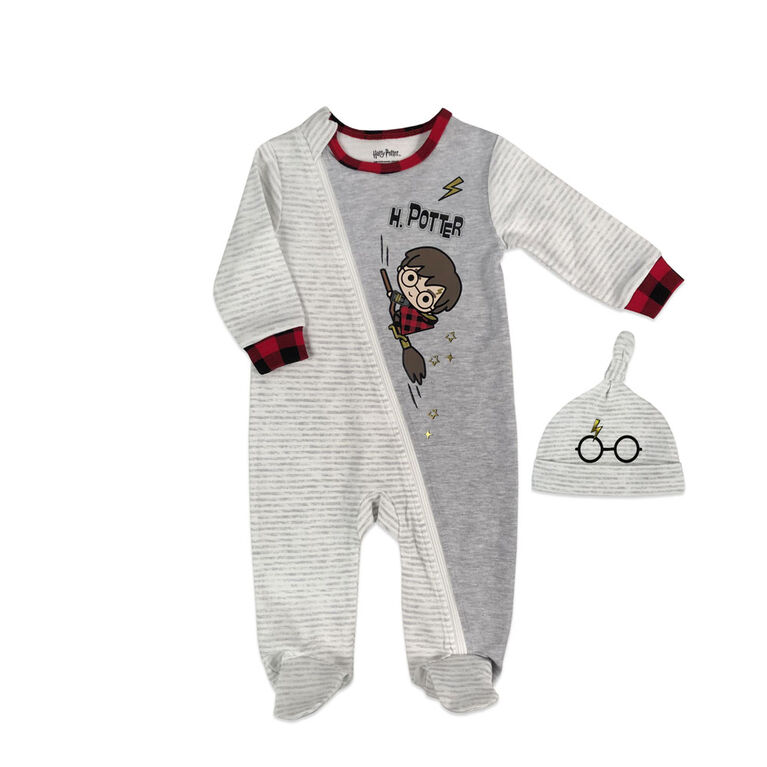 Harry Potter Sleeper with hat - Grey, Newborn.