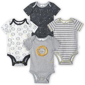 Just Born Baby Boys 4-Pack Organic Short Sleeve Onesies Bodysuits - Lil Lion 0-3 Months