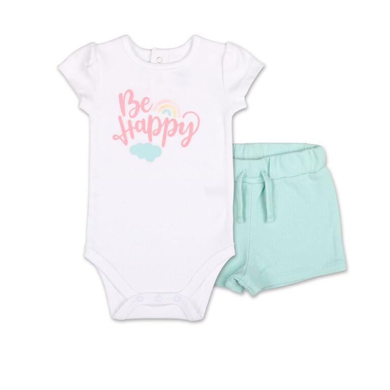 Koala Baby Pastel Rainbow Be Happy Bodysuit/Shorts 2 Piece Set, 3-6 Months