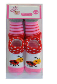 Tickle-toes Paquet de 2 paires de chaussettes/chaussons, 0-12 mois.