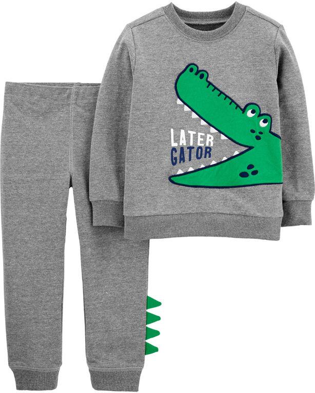 Ensemble 2 pièces chandail à alligator et pantalon de jogging Carter's – gris, nouveau-né