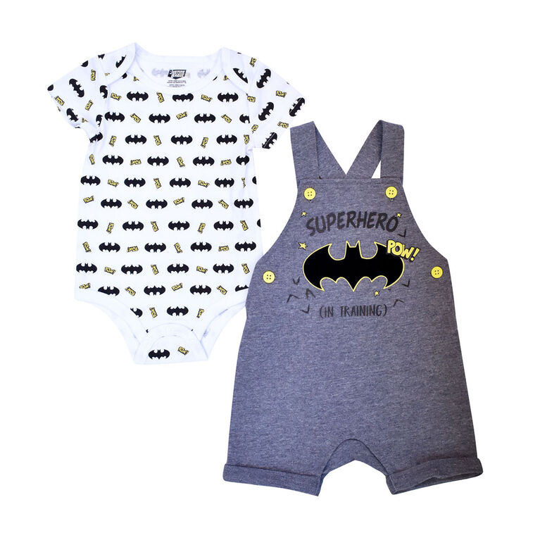 Warner's Batman 2-Piece Shortall Set - Grey, 9 Months