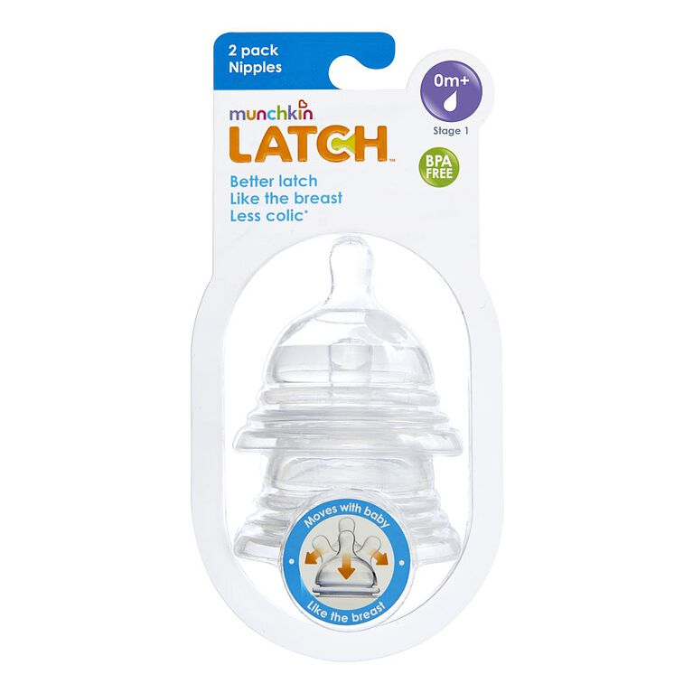 Munchkin - LATCH Stage 1 Nipple for 0+ Months, 2-Pack