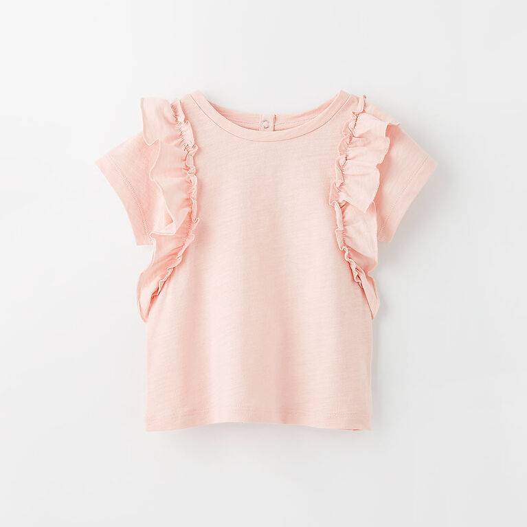 sweet ruffle tee, 12-18m - light pink