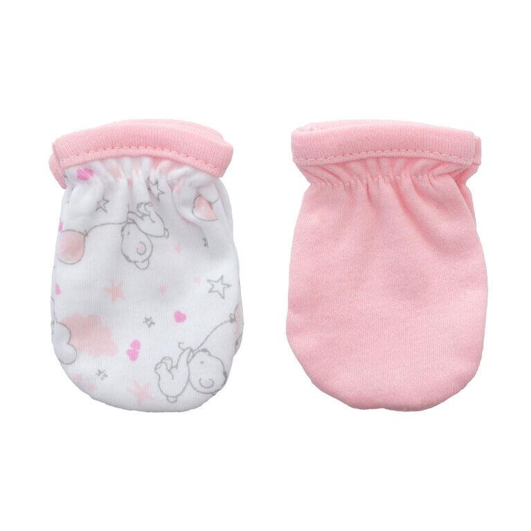 Koala Baby 2-Pack Scratch Mittens - Pink Bear