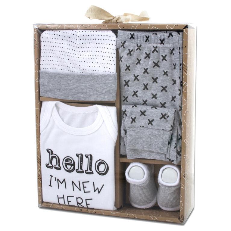 Baby Essentials Hello I' Months new here - 4-Piece Layette Set 0-3 Months
