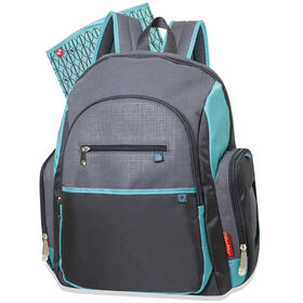 Fisher Price Riley Backpack Diaper Bag - Grey/Aqua