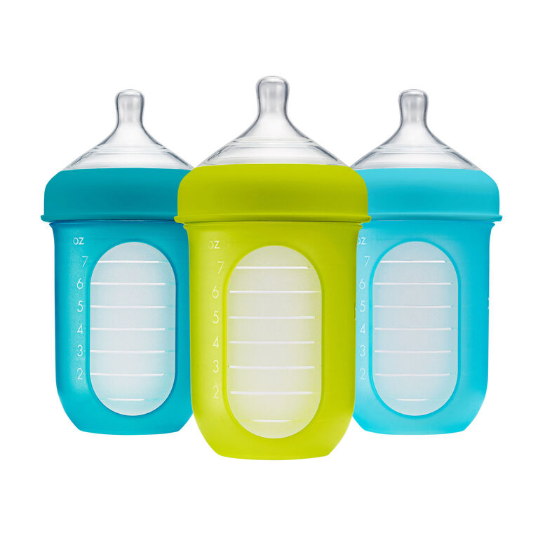 Boon Nursh Silicone Pouch Bottle 8 oz 3-Pack - Blue and Green