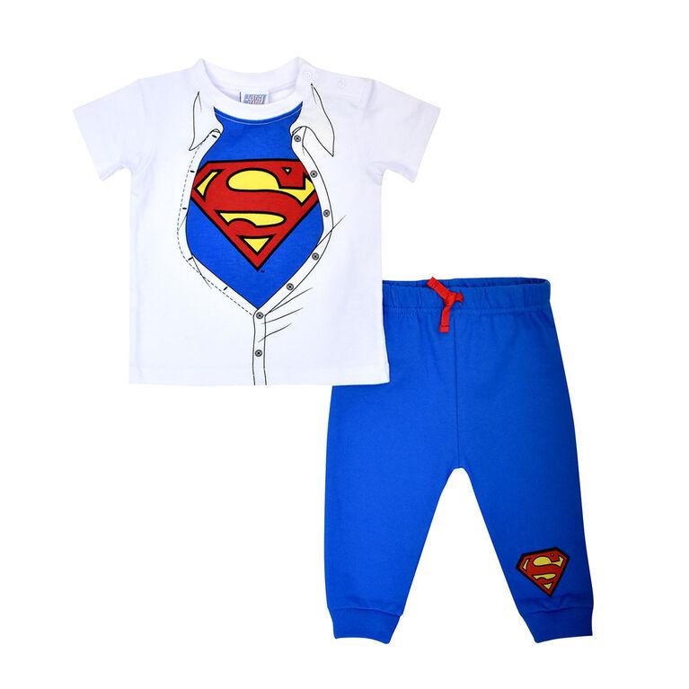 Warner's Superman 2PC jogger set - Blue, 3 Months