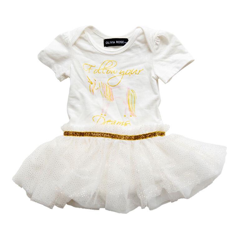 Olivia Rose - Robe Tutu Imprimée Licorne à Manches Courtes - Blanc - 12 Mois