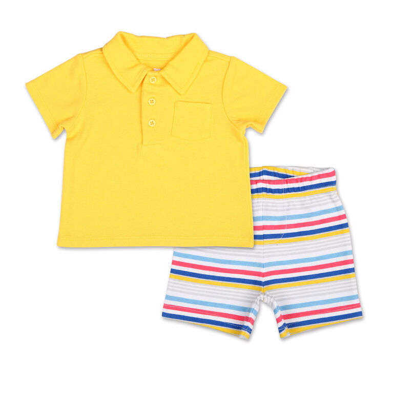 Koala Baby Summer Fun Golf Shirt/Striped Short 2 Piece Set, Newborn