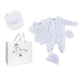 Rock a Bye Baby Boutique - Netural Toy Box Footie 5-Pc Set - 3-6 months
