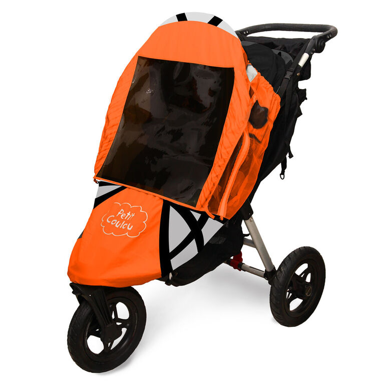 Petit Coulou 3 Seasons (4 in 1) Stroller Cover - Orange & Black