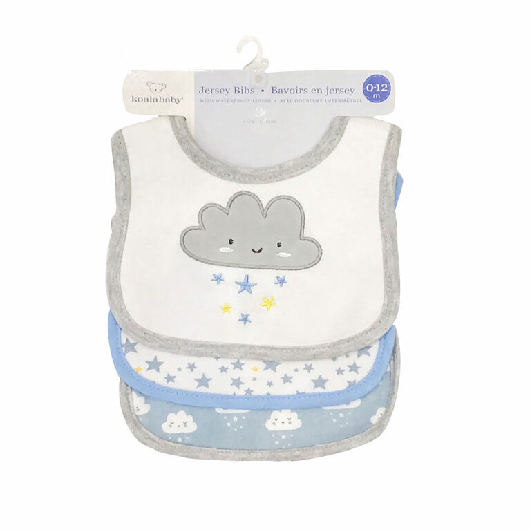 Koala Baby - 3 Pack Blue Cloud Applique JerseyY