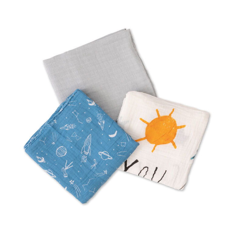 Red Rover - Cotton Muslin Swaddle 3 Pack - Sun Moon Stars - R Exclusive