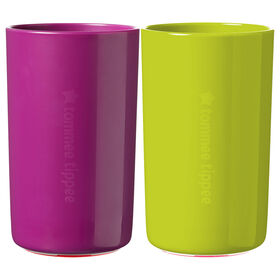 Tommee Tippee No Knock Toddler Cup, Green & Purple - 10oz, 18m+, 2pk