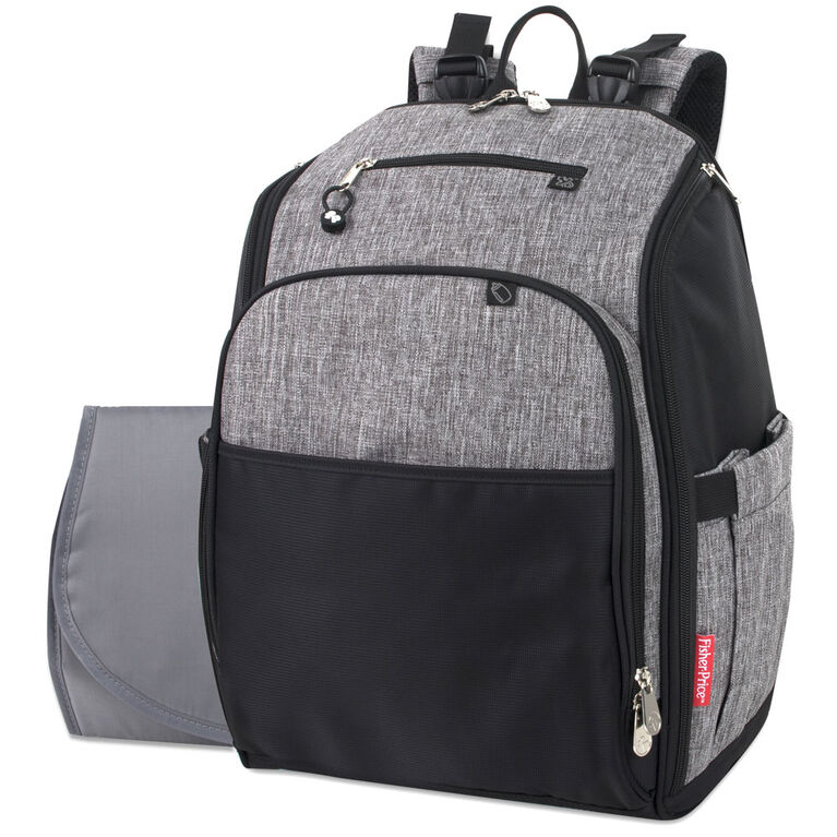 Fisher Price Kaden Backpack Diaper Bag Grey And Black
