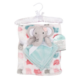 Baby's First By Nemcor 2 Piece Set- Elephant with Pink Elephant Design Blanket