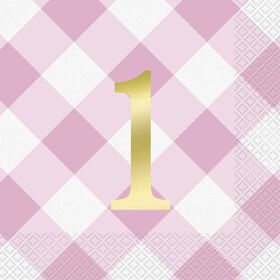 Pink Gingham 1st Bday Lunch Napkins 16 pieces
