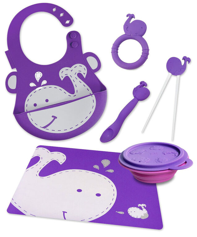 Marcus & Marcus Baby Bib & Collapsible Bowl & Feeding Spoon & Chopsticks & Teether & Placemat - Whale.