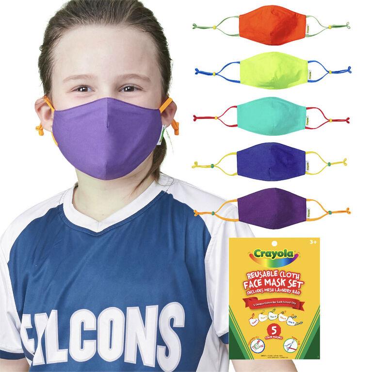 Crayola Kids Reusable Cloth Face Mask Set, Cool Colors