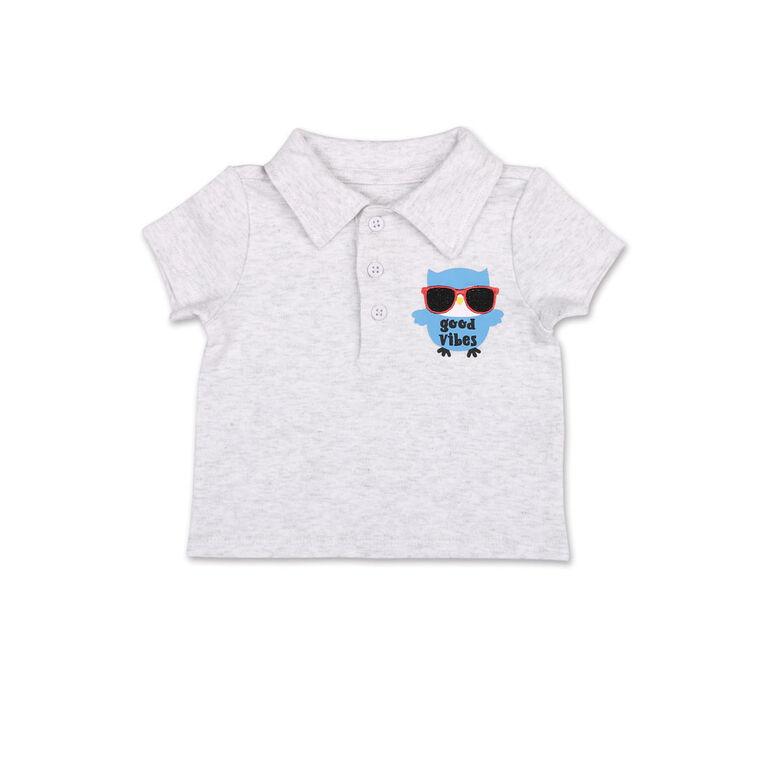 Koala Baby Good Vibes Golf Shirt/Printed Short 2 Piece Set, 6-9 Months