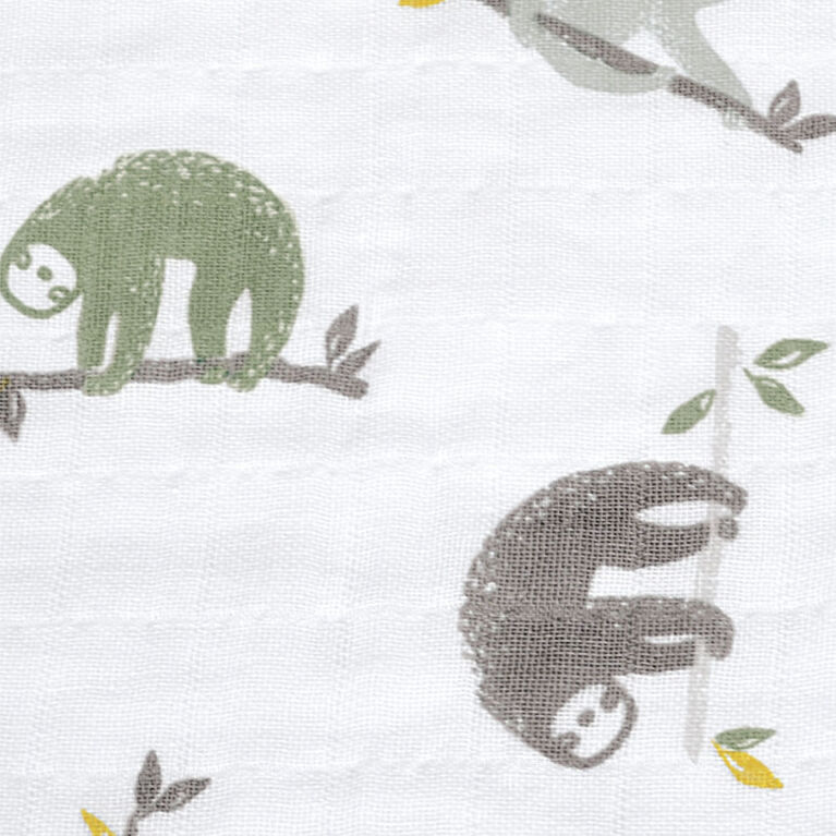 Sleepbag-Muslin-Allover Sloths (0,7 Tog) 0-6 Months