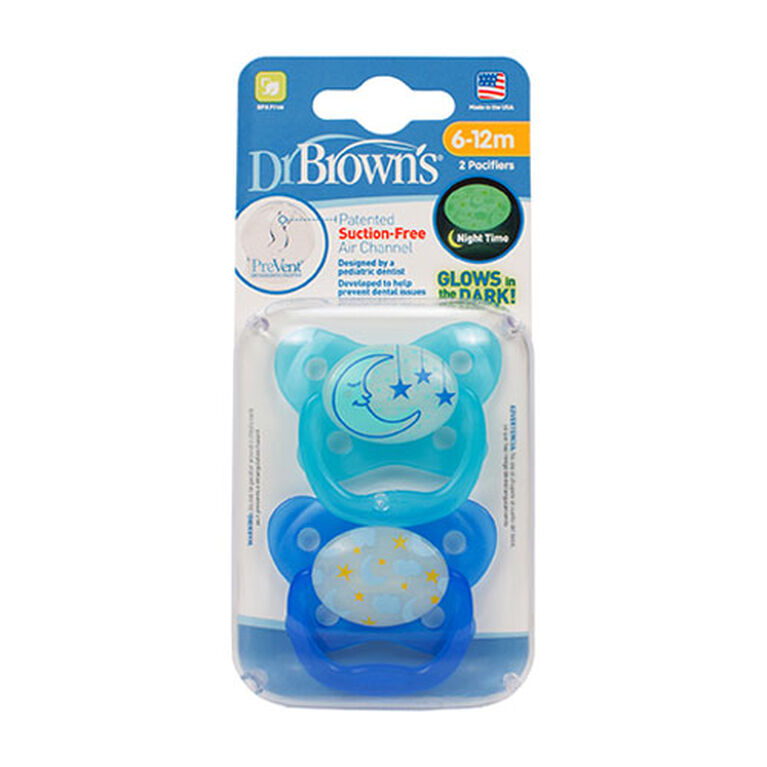 Dr. Brown's PreVent Glow in the Dark Pacifier, 6 Months+ - Blue