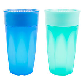 Gobelet de transition de Dr. Brown's Milestones Cheers360 300 ml paquet de 2 bleu et vert.