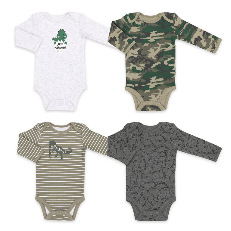 Combinaison à manches longues Koala Baby en paquets de 4, modèle Camouflage de dinosaure, Nouveau-né