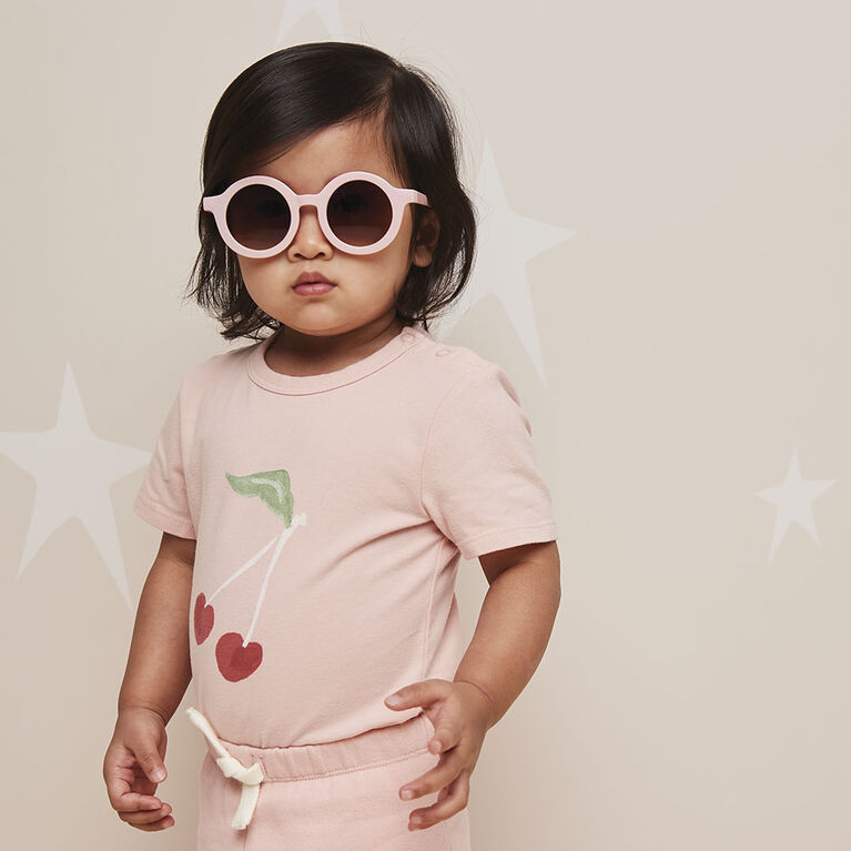 short-sleeve play all day organic bodysuit , 6-9m - light pink