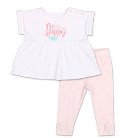 Koala Baby Pastel Rainbow Be Happy Rolled Sleeve Top/Legging 2 Piece Set, 3-6 Months