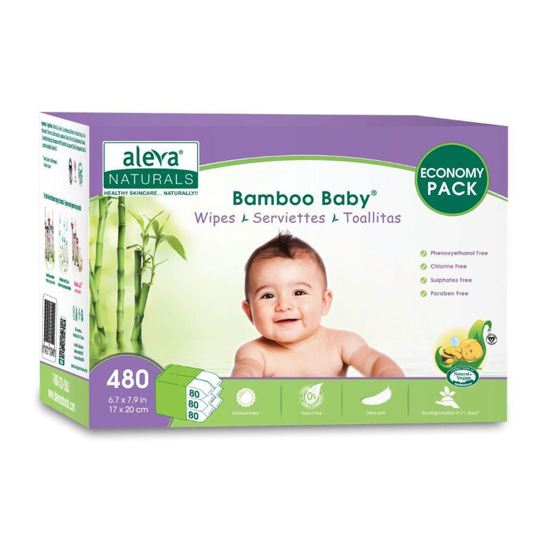Aleva Naturals Bamboo Baby Wipes - 480 Count