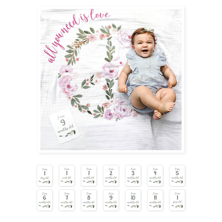 Lulujo - Baby's 1st Year - Monthly Milestone Photography Background Prop, Blanket and Cards Set - All You Need Is Love