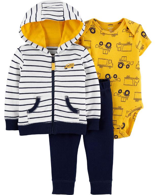 Carter's 3-Piece Construction Cardigan Set - Navy, 3 Months