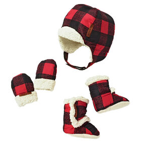 JJ Cole Baby Bomber Hat Set - 0 to 6 Months - Buffalo Check