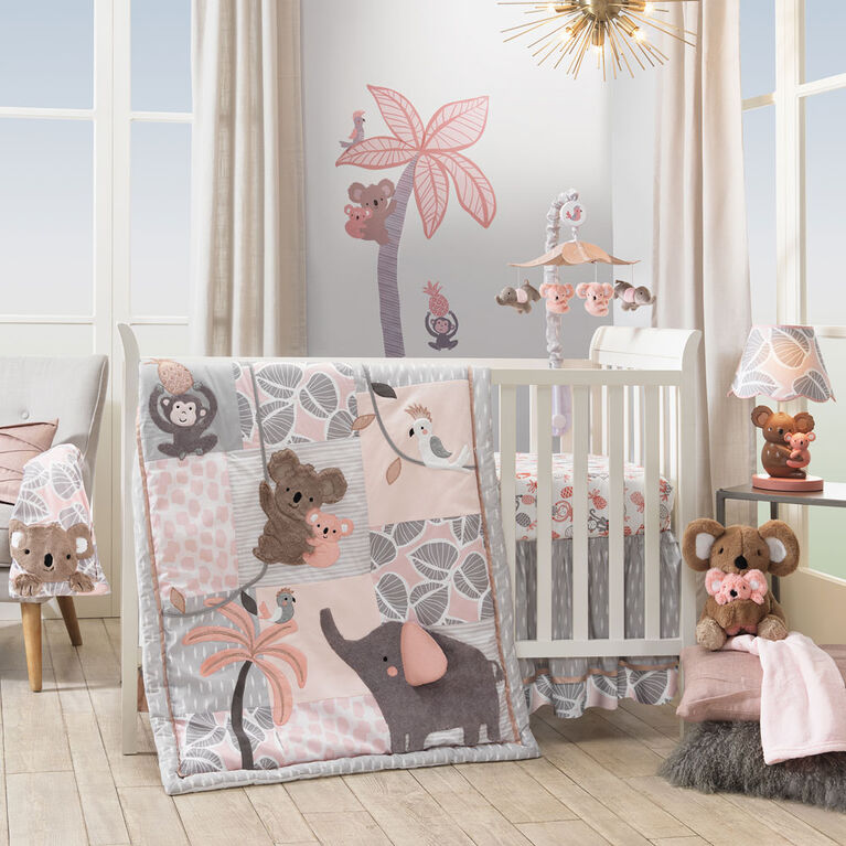 Lambs & Ivy Calypso Leaves Fitted Crib Sheet   Pink/Gray   Babies