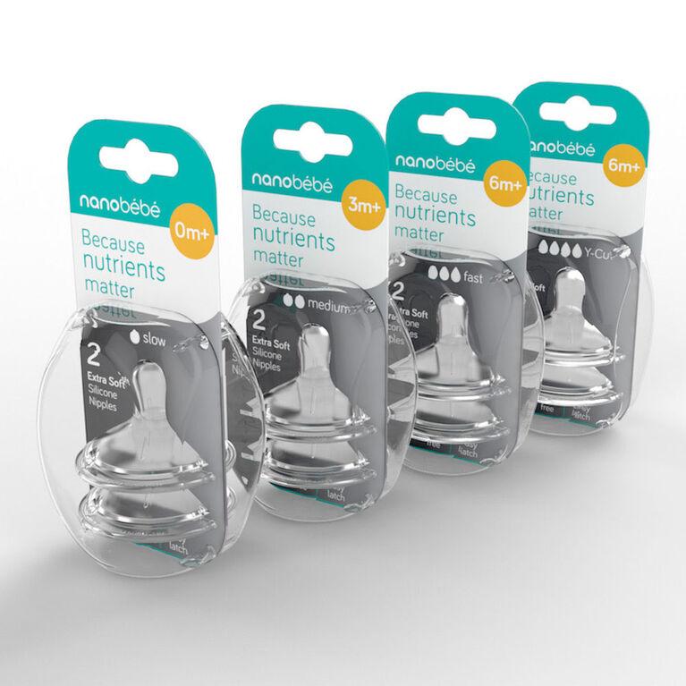 Paquet de 2 tétines en silicone – Débit rapide Nanobébé.