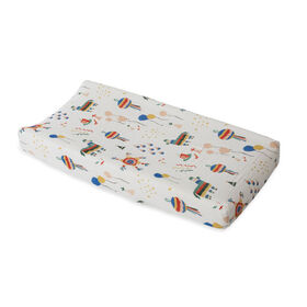 Red Rover - Cotton Muslin Changing Pad Cover - Party Time - R Exclusive