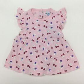 Coyote and Co. Pink ruffle sleeve berry print tee - size 6-9 months