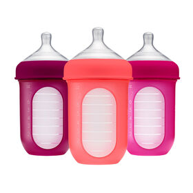 Boon Nursh Silicone Pouch Bottle 8 oz 3-Pack - Pink and Purple