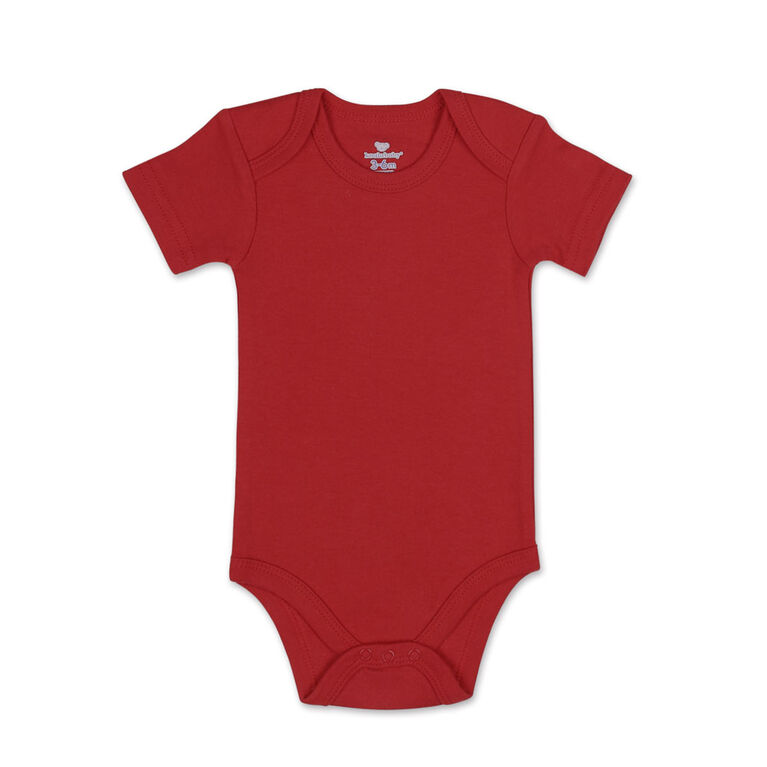 Koala Baby 4Pk Short Sleeved Solid Bodysuits, Red/Navy/Heather Grey/White, 6 Month