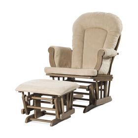 Chaise berçante et ottomane confortables Forever Eclectic de Child Craft, Gris chiné poussière avec coussin beige.