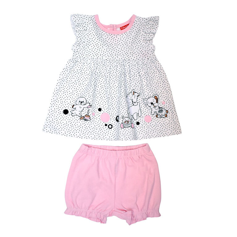 Fisher Price 2 PC Dress and Panty Set - Pink, 9 months