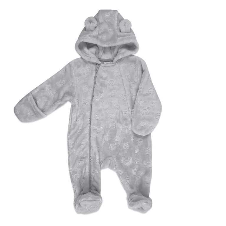Rococo Embossed Plush Pramsuit - Grey, 0-3 Months