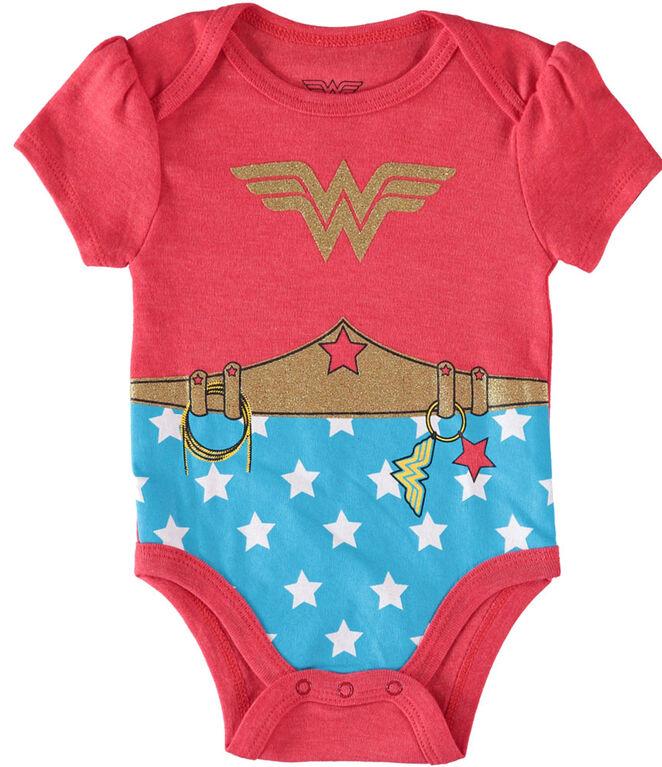 Wonder Woman Newborn 3 Pack Bodysuit 6-9M Red