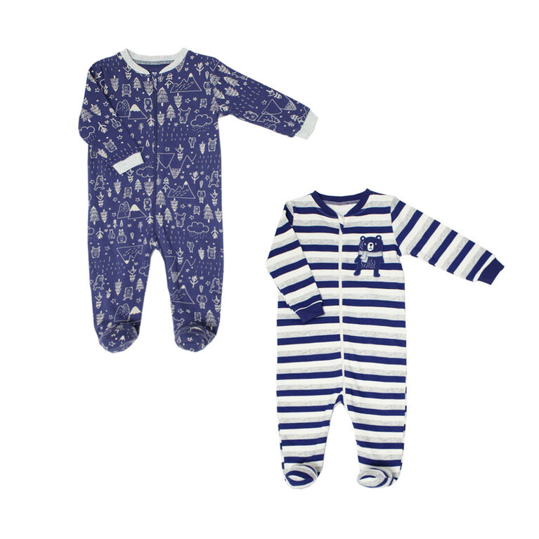 Koala Baby Boys 2 Pack Sleeper - Winter Bear Navy, Preemie