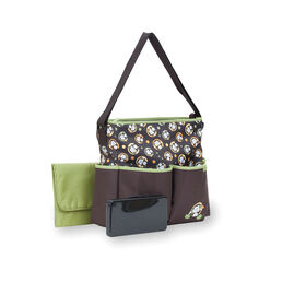Baby Boom Deluxe Monkey Tote Diaper Bag with Wipes Case - Brown/Green