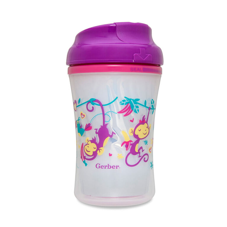 Gerber Graduates Advance Insulated Sippy Cup, 24M+, 2-Pack, 9oz - Pink/Purple