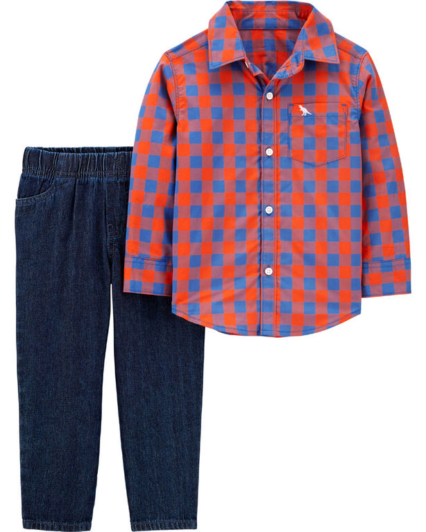 Carter's 2-Piece Plaid Button-Front Top & Denim Pant Set - Orange/Blue, 12 Months